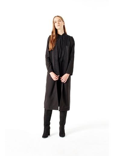 Mizalle Uzun  Ceket  Siyah